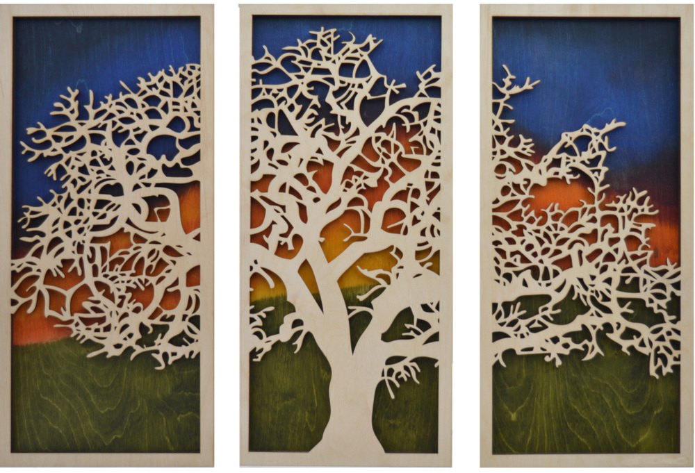 DeGuire Trees at Sunset Triptych