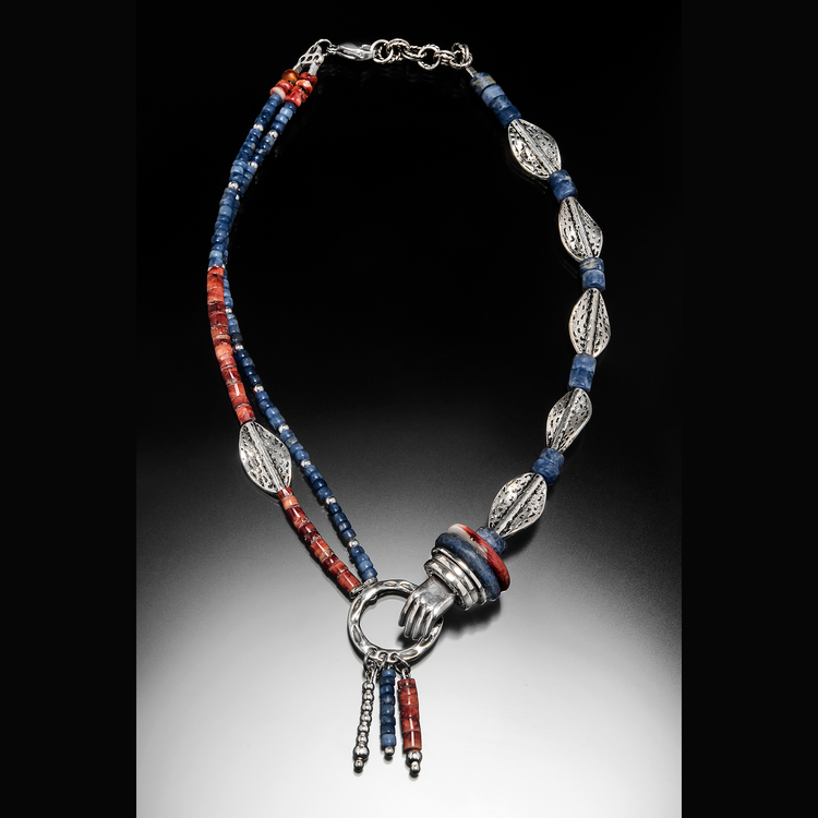 Fields Multi Metal Clay Hand Charm Necklace