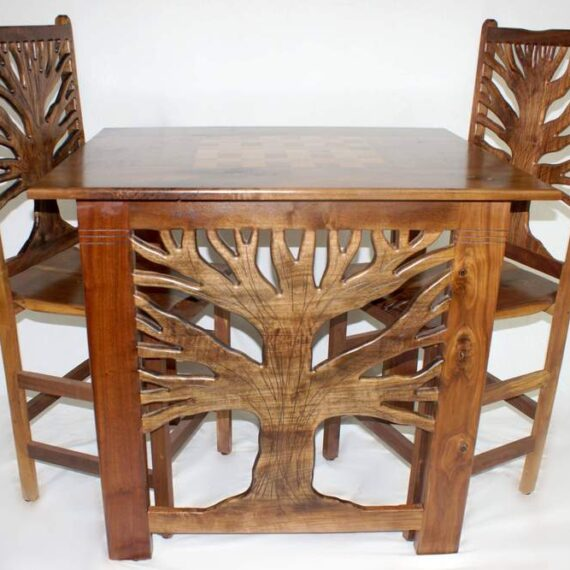 Shotton Tree of life Chess Table and Chairs